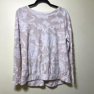 Loft Lg tan and white long sleeve sweater